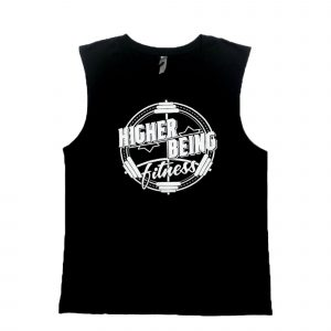 BLACK HIGHER BEING MEN'S MUSCLE TANKS.
