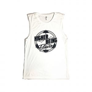 WHITE HIGHER BEING MENS MUSCLE TANKS